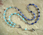 Rhiannon Prayer Bead Necklace in Aquamarine and Sodalite: Welsh Celtic Goddess of Magic, Abundance and Sovereignty - Hearthfire Handworks