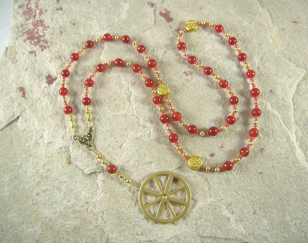 Taranis Prayer Bead Necklace in Carnelian: Gaulish Celtic God of Thunder, Fertility, Protection - Hearthfire Handworks