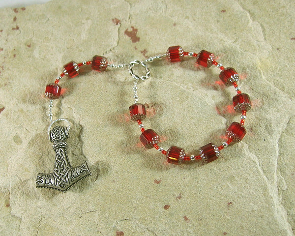 Thor Pocket Prayer Beads: Norse God of Thunder, Protector of Humanity - Hearthfire Handworks