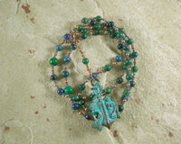 Amphitrite Prayer Bead Necklace in Lapis-Chrysocolla: Greek Goddess, Queen of the Seas - Hearthfire Handworks