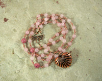 Aphrodite Prayer Bead Necklace in Rose Quartz: Greek Goddess of Love and Beauty - Hearthfire Handworks