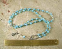 Aphrodite Prayer Bead Necklace in Aquamarine: Greek Goddess of Love and Beauty - Hearthfire Handworks