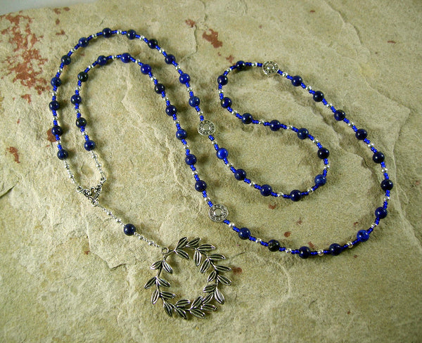 Apollo Prayer Bead Necklace in Lapis Lazuli: Greek God of Music and the Arts, Health and Healing - Hearthfire Handworks