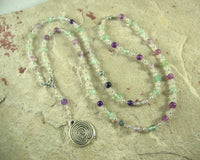 Ariadne Prayer Bead Necklace in Rainbow Fluorite: Greek Goddess, Mistress of the Labyrinth - Hearthfire Handworks