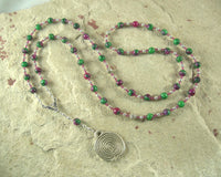 Ariadne Prayer Bead Necklace in Ruby in Zoisite: Greek Goddess, Mistress of the Labyrinth - Hearthfire Handworks