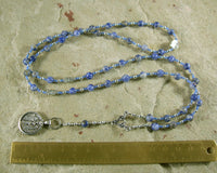 Athena Prayer Bead Necklace in Blue Agate:Greek Goddess of Wisdom, Weaving and War - Hearthfire Handworks