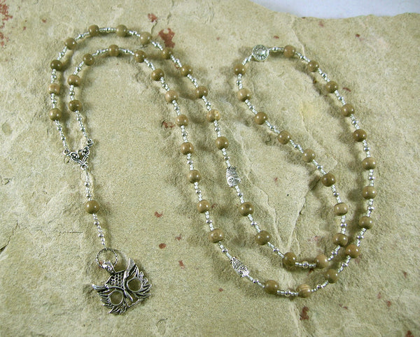 Athena Prayer Bead Necklace in Greywood: Greek Goddess of Wisdom, Weaving and War - Hearthfire Handworks