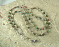 Demeter Prayer Bead Necklace in Unakite: Greek Goddess of Grain, the Harvest, the Seasons, and the Afterlife - Hearthfire Handworks