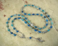 Dike (Justice) Prayer Bead Necklace in Blue Agate: Greek Goddess of Justice - Hearthfire Handworks