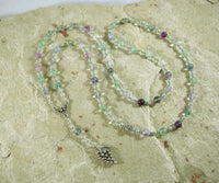 Dionysos Prayer Bead Necklace in Rainbow Fluorite: Greek God of the Grape, Theater, the Mysteries - Hearthfire Handworks