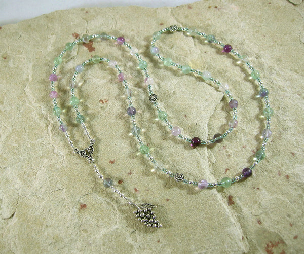 Dionysos Prayer Bead Necklace in Rainbow Fluorite: Greek God of the Grape, Theater, the Mysteries