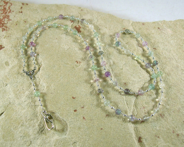 Eileithyia Prayer Bead Necklace in Rainbow Fluorite: Greek Goddess of Childbirth and Pregnancy - Hearthfire Handworks