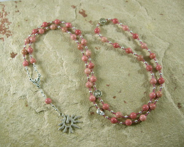 Eos Prayer Bead Necklace in Rhodonite: Greek Goddess of the Dawn - Hearthfire Handworks