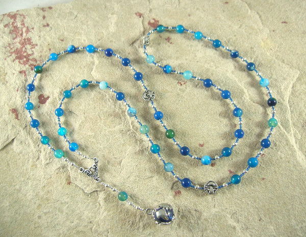 Gaia (Gaea) Prayer Bead Necklace in Blue Agate: Mother Earth, Mother of the Greek Gods - Hearthfire Handworks