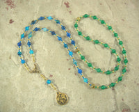 Gaia (Gaea) Prayer Bead Necklace in Blue and Green Agate: Mother Earth, Mother of the Greek Gods