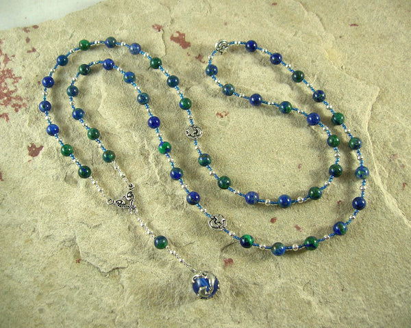 Gaia (Gaea) Prayer Bead Necklace in Chrysocolla/Lapis: Mother Earth, Mother of the Greek Gods - Hearthfire Handworks
