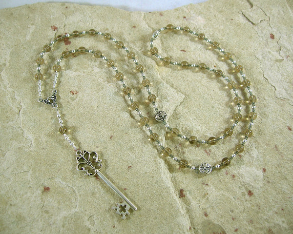 Hekate (Hecate) Prayer Bead Necklace in Smoky Quartz: Greek Goddess of Magic, Witchcraft - Hearthfire Handworks
