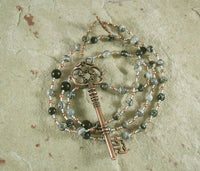 Hekate (Hecate) Prayer Bead Necklace in Spiderweb Jasper: Greek Goddess of Magic, Witchcraft - Hearthfire Handworks