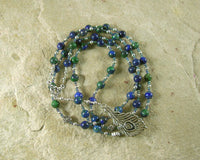 Hera Prayer Bead Necklace in Azurite-Malachite: Greek Goddess of the Heavens, Marriage and Fidelity, Queen of Olympus - Hearthfire Handworks