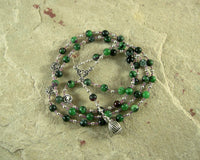 Morpheus Prayer Bead Necklace in Ruby/Zoisite: Greek God of Dreams - Hearthfire Handworks