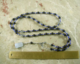 Nyx Prayer Bead Necklace in Blue Goldstone: Greek Goddess of the Night - Hearthfire Handworks