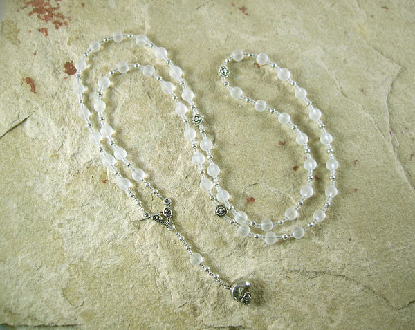 Persephone Prayer Bead Necklace in Crystal Quartz:  Greek Goddess of Spring, Death - Hearthfire Handworks