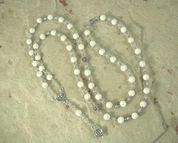 Persephone Prayer Bead Necklace in White Lava Stone: Greek Goddess of Spring, Death, the Afterlife