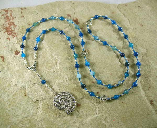 Poseidon Prayer Bead Necklace in Blue Agate: Greek God of the Sea - Hearthfire Handworks