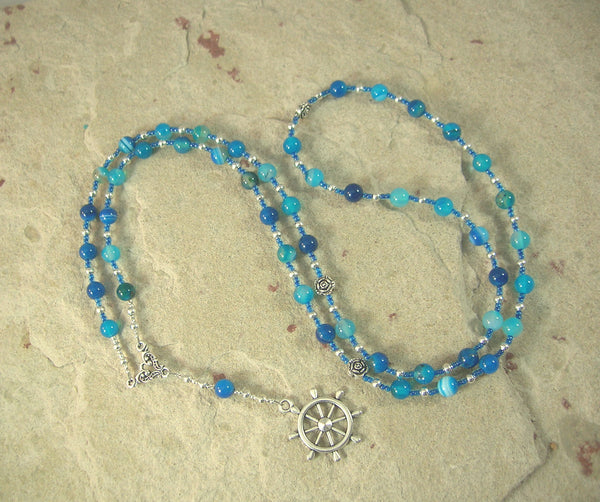 Tyche (Fortune) Prayer Bead Necklace in Blue Agate: Greek Goddess of Luck, Chance and Prosperity