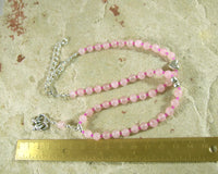 Aphrodite Prayer Bead Necklace in Rose Quartz (Adjustable): Greek Goddess of Love and Beauty - Hearthfire Handworks