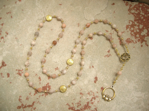 Aengus (Oengus, Angus Og) Prayer Bead Necklace in Sunstone: Irish Celtic God of Youth and Love - Hearthfire Handworks