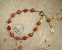 Hestia Pocket Prayer Beads in Goldstone: Greek Goddess of the Hearth, Home and Family - Hearthfire Handworks