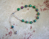 Aristaios Prayer Bead Bracelet in Ruby-Zoisite: Greek God of Excellence and Useful Arts - Hearthfire Handworks