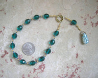Goddess Prayer Beads with Green Ceramic Goddess Pendant - Hearthfire Handworks