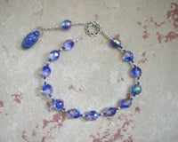 Goddess Prayer Beads with Deep Blue Ceramic Goddess Pendant - Hearthfire Handworks