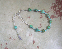 Sif Prayer Bead Bracelet in African Turquoise: Norse Goddess of Abundance and Fertility - Hearthfire Handworks