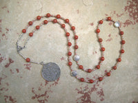 Epona Prayer Bead Necklace in Red Jasper: Gaulish Celtic Goddess of the Horse, Goddess of Soldiers - Hearthfire Handworks
