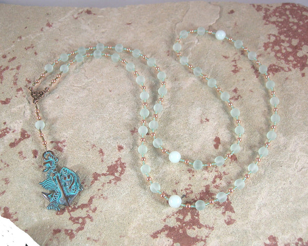 Amphitrite Prayer Bead Necklace in Sea Glass and Amazonite: Greek Goddess, Queen of the Seas - Hearthfire Handworks