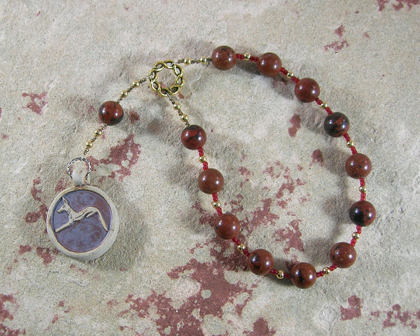 Anubis Pocket Prayer Beads in Mahogany Obsidian: Egyptian God of the Afterlife, Guardian of the Dead - Hearthfire Handworks