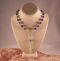 Zeus Prayer Bead Necklace in Sodalite: Greek God of the Sky and Storm, Lightning, Justice - Hearthfire Handworks