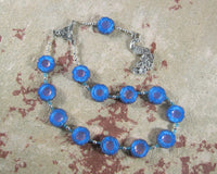 Hera Pocket Prayer Beads in Blue Pressed Glass: Greek Goddess of the Sky, Marriage, Queen of Olympus - Hearthfire Handworks