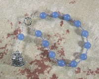 Athena Pocket Prayer Beads in Blue Chalcedony: Greek Goddess of Wisdom, Weaving, War - Hearthfire Handworks