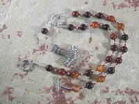 Thor Prayer Bead Necklace in Sardonyx:  Norse God of Thunder, Protector of Humanity - Hearthfire Handworks