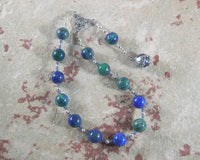 Gaia (Gaea) Pocket Prayer Beads in Azurite-Malachite: Mother Earth, Mother of the Greek Gods - Hearthfire Handworks