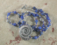 Manannan (Manannan mac Lir) Prayer Bead Necklace in Sodalite: Irish Celtic God of the Sea - Hearthfire Handworks