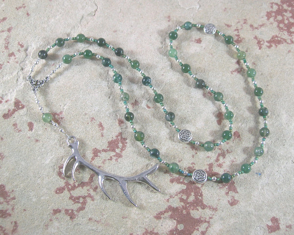 Cernunnos (Kernunnos) Prayer Bead Necklace in Green Agate: Gaulish Celtic God of Nature and Beasts - Hearthfire Handworks