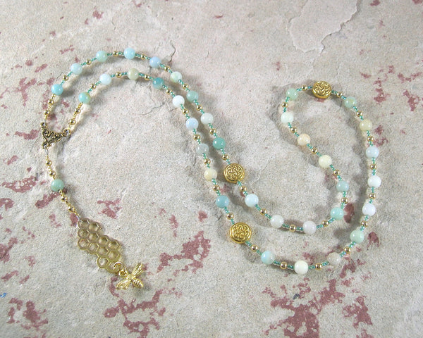 Nantosuelta Prayer Bead Necklace in Flower Amazonite: Gaulish Celtic Goddess of Fertility, Abundance - Hearthfire Handworks