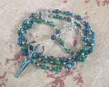 Nile Goddess Meditation Bead Necklace in Lapis/Chrysocolla - Hearthfire Handworks