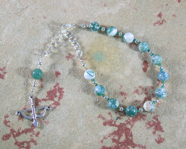 Artemis Prayer Bead Bracelet in Tree Agate: Greek Goddess of  the Wild, Protector of Young Women - Hearthfire Handworks