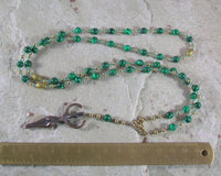 Nile Goddess Meditation Bead Necklace in Reconstituted Malachite - Hearthfire Handworks
